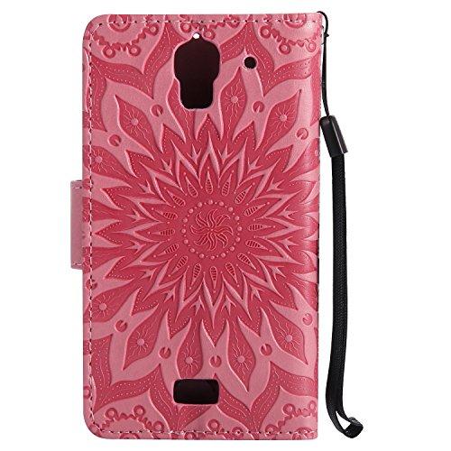YHUISEN Caso de Huawei Y360 Y3, diseño de la impresión de la flor de Sun Caja protectora de cuero del acollador de la carpeta del tirón de la PU con la ranura para tarjeta para Huawei Y360 / Y3 ( Colo Pink