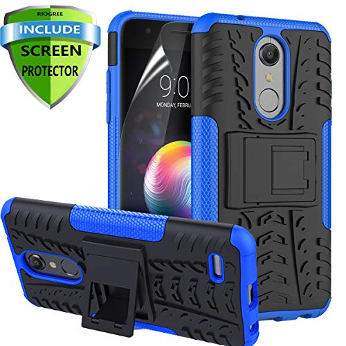 (RioGree for LG K30 Phone Cases / k10 2018 / Phoenix Plus / CV3 Prime/Premier Pro LTE/Harmony 2 Cell Phone Case, with Screen Protector Kickstand Heavy Duty for Women Men, Blue)