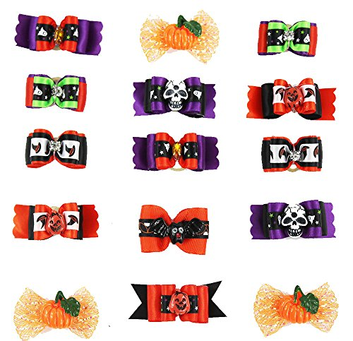 Reopet Dog Hair Bows Grooming Accessories - Halloween Gifts for Pets - Pumpkin,Bat,Ghost,Bling Diamonds,Wizard Hat,Skull Pattern - Fasten by Rubber Bands - 30PCS in 1 Pack