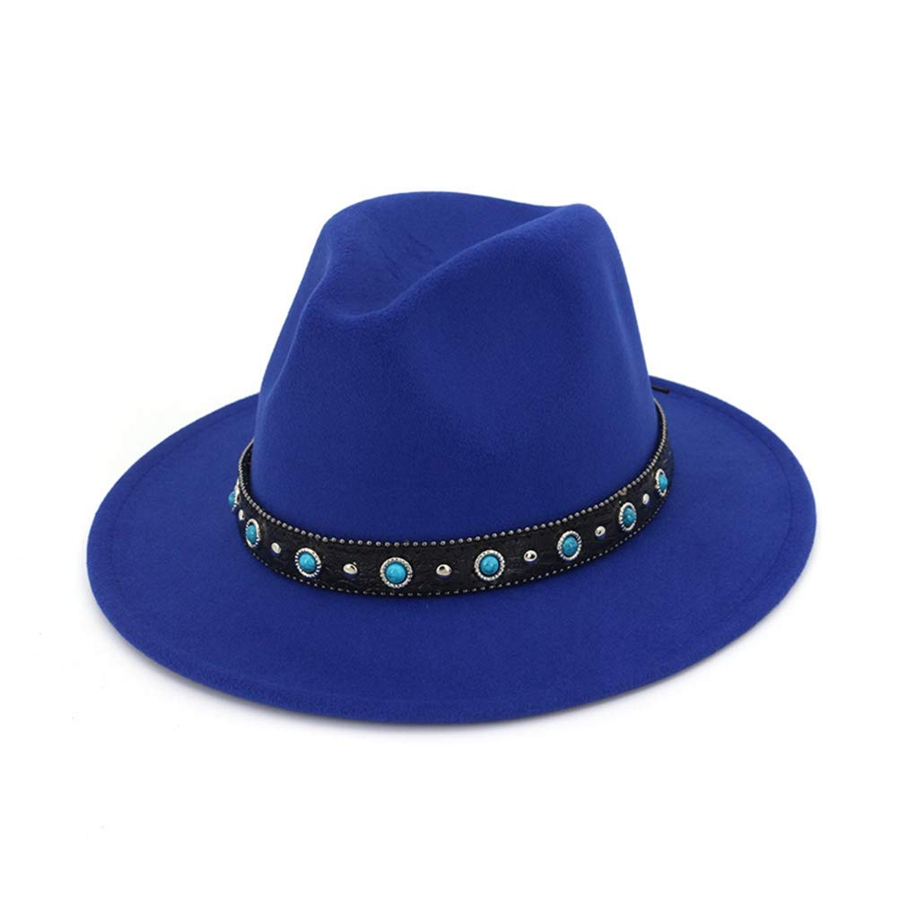 SANOMY Unisex Flat Brim Fedoras Hat with Belt Rivet Decoration Fashion Jazz Hat