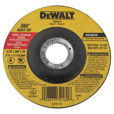 4-1/2 inchX.045 inchX7/8 inch Thincutting Wheel Dcw, Sold As 1 Each