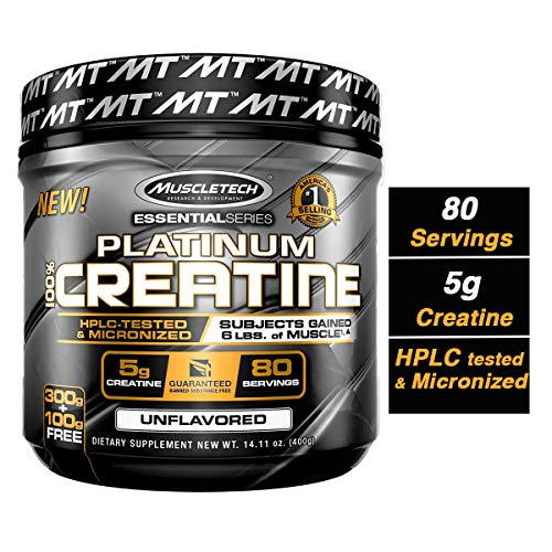 - MuscleTech Platinum Creatine Monohydrate Powder, 100% Pure Micronized Creatine Powder, 14.1oz (80 Servings)