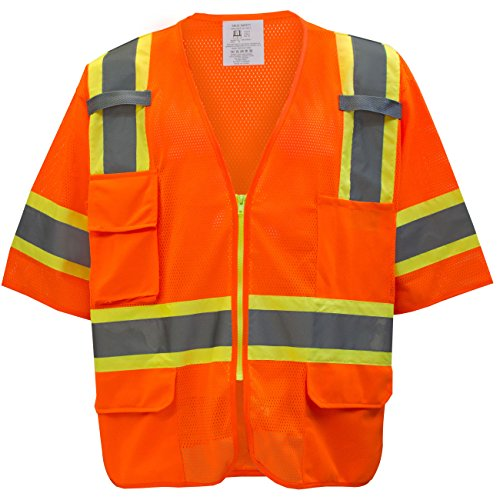 RK-Safety Class 3 Two Tones High Visibility Reflective Strips Breathable Mesh Vest (5XL, Hi-Viz Orange)