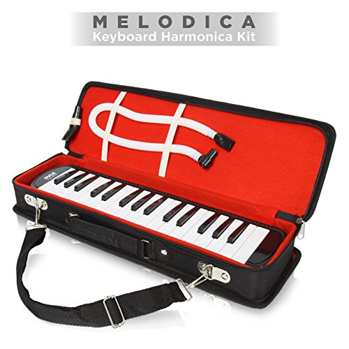 51FMDzLrZOL - Pyle Black Professional Keyboard Harmonica Instrument - Also Called Mouth Organ, Wind Piano - Tremolo Key Melodica Kit Set Includes Mouthpiece, Tube Accessories - Great for Beginner or Band - PMLD12BK