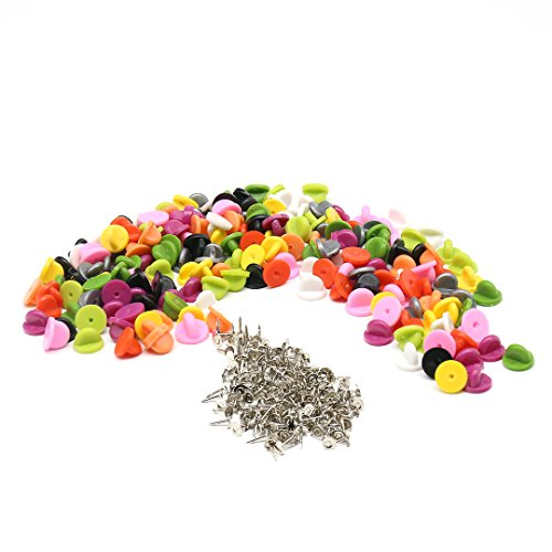 200 Pack Butterfly Clutch PVC Rubber Pin Backs Keepers With 200 Pack Tie Tacks, Replacement Uniform Badge Comfort Fit Tie Tack Lapel Pin Backing Holder Clasp,Assorted Color