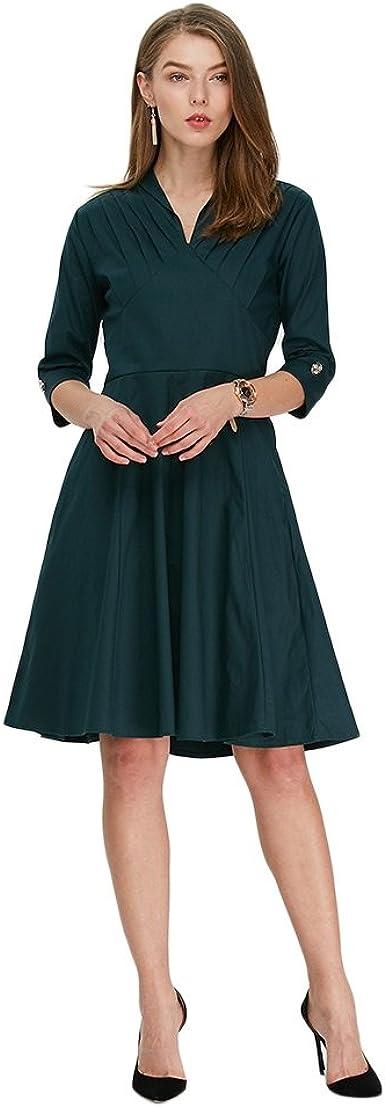 RoseGal vintage década de 1940, manga 3/4, cuello en V, una línea formal, acampanado, falda circular, para boda, té, cóctel, vestido de camisa
