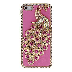 Mini - Peacock Style Case Back Cover Shell Rhinestones for iPhone 5