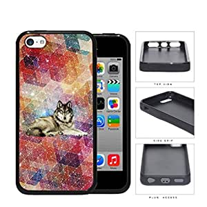 Colorful Geometric Nebula Wallpaper with Wolf in Center iPhone 5c pc Silicone pc Cell Phone Case