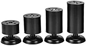 Lheng 6cm/2.36″ Furniture Legs Furniture Support Foot - Sofa Leg Support Leg Stainless Steel Adjustable Table Foot Support Foot Furniture Cabinet Legs Black 2Pcs