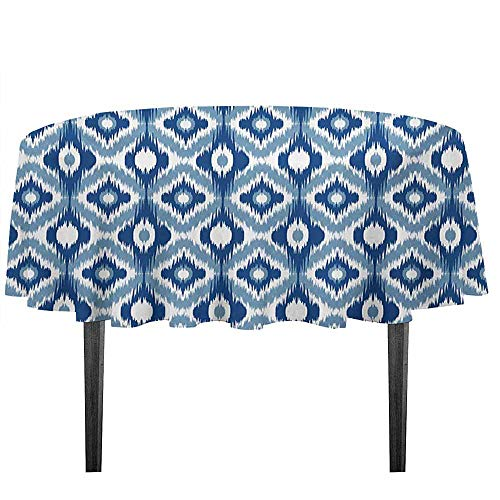 (Ikat Leakproof Polyester Tablecloth Ethnic Ikat Design with Regular Multi-Shaft Loom Uneven Twill Trend Motif Outdoor and Indoor use D51.18 Inch Dark Blue and White)