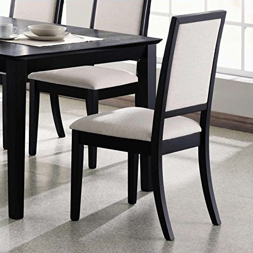 Coaster Home Furnishings 101562 Casual Side Chair, Black/Cream, Set of 2 (Fabric Covered Dining Chairs)