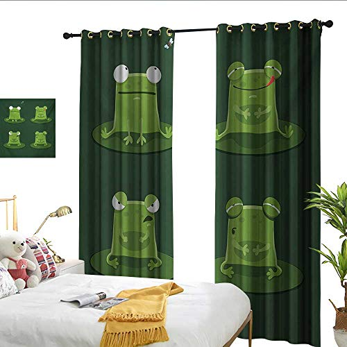 WinfreyDecor Funny Insulated Sunshade Curtain Funny Muzzy Frog on Lily Pad in Pond Hunting Tasty Fly Expressions Cartoon Animal Set of Two Panels W108 x ()