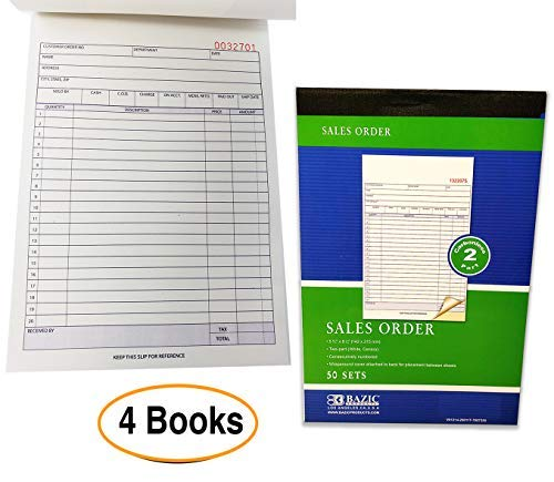 Sales Order Books Invoices | Receipts, 2-Part, Carbonless, White/Canary, 8.5 x 5.5 Inches, 50 Sets per Book, 4 Books