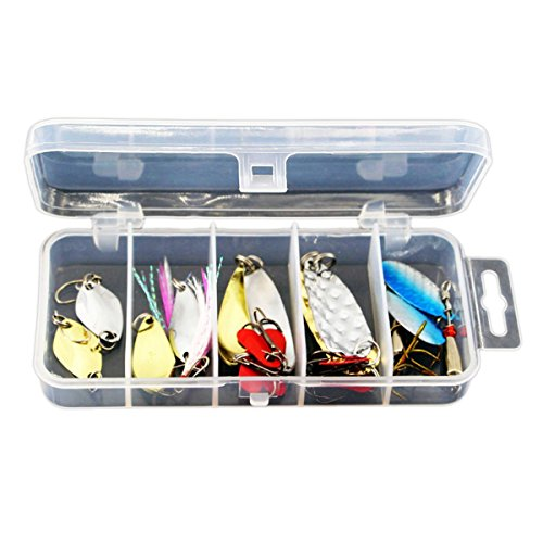 Spinnerbaits mixed fishing hard lures kits spinnrbait pike bass wigh hand holographic painted blades terminator spinnerbaits white spinnerbaits with trailer hook for lure fishing 10 (Hand Painted Lures)