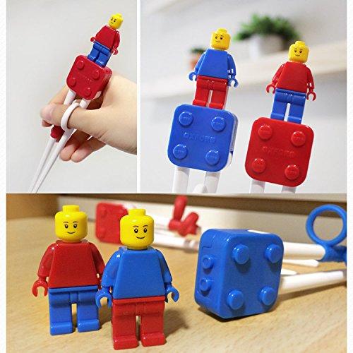 Brick Figure Design Oxford Training Chopsticks Spoon Fork Case Set for Right-hand Children Kids (BlueCaseSpoonForkChopsticks) by OxfordKorea (Image #9)