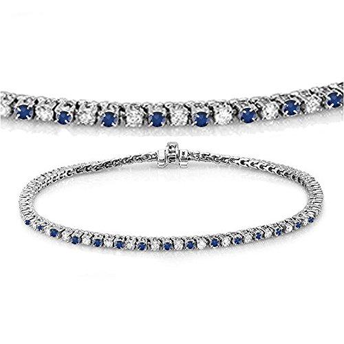 Dazzlingrock Collection 14K Round Cut Real Blue Sapphire & White Diamond Ladies Tennis Bracelet, White Gold (Bracelet Blue White Gold Sapphire)
