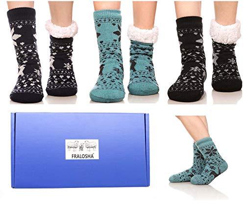 FRALOSHA Women's Slipper Socks Warm Fuzzy Fleece-lined Indoor Anti-Skid Floor Socks 3 Pairs Christmas Gift