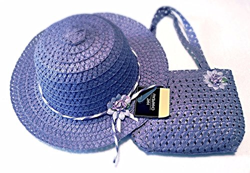 Girls Floral Flat Brim Sun Hat and Tote Purse Easter Tea Party Accessory Set (Purple)