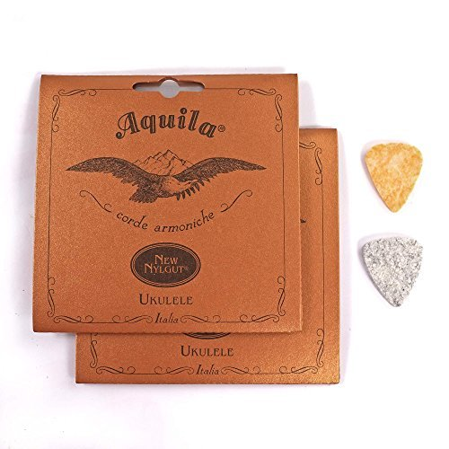 2-Pack Aquila New Nylgut 7U Concert Ukulele Strings 23 inch Regular High G with 2 Free Felt Picks