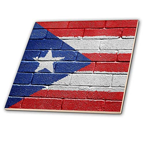 3dRose ct_156970_4 National Flag of Puerto Rico Painted onto a Brick Wall Rican Ceramic Tile, 12-Inch ()