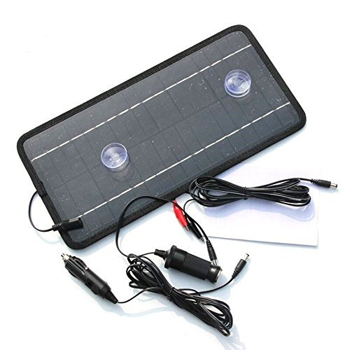 Renepv 8.5W 12V Power Solar Panel Battery Charger For Car SUV Truck Boat Marine Caravan Comes with USB, Alligator Clips and Cigarette Adapter by Renepv