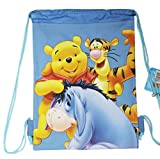 Cheap Disney's Winnie the Pooh Tigger, Pooh, and Eeyore Light Blue Drawstring Bag