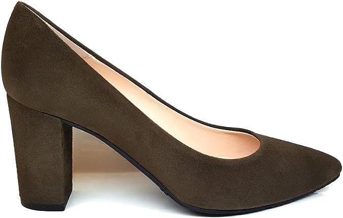TALLA 40 EU. MEDINAX - Zapatos Salones de Piel para Mujer y Tacon Ancho 7 cm con Punta Fina Cerrada - Hechos a Mano en España - Planta Interior Acolchada con Esponja - Comodos