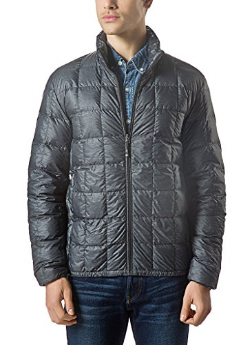 Quilted Puffer (XPOSURZONE Men Packable Down Quilted Puffer Jacket SH.Charcoal Melange Lightweight Puffer Coat M)