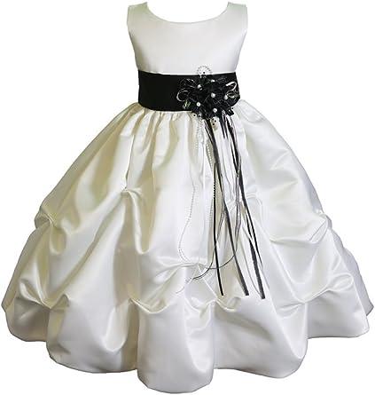 Big Girls Ivory Coral Chiffon Floral Sash Tulle Junior Bridesmaid Dress