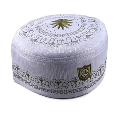 Price comparison product image Alwee ALW005 Muslim Prayer Hat Men Islam Kufi Headware Skull Cap Ramadan Eid Gift (22.5 inch (57 cm.),  White)