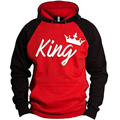 S&R Handwrite King Queen Crown Raglan Hoodie Pullover Hooded Sweatshirt free shipping