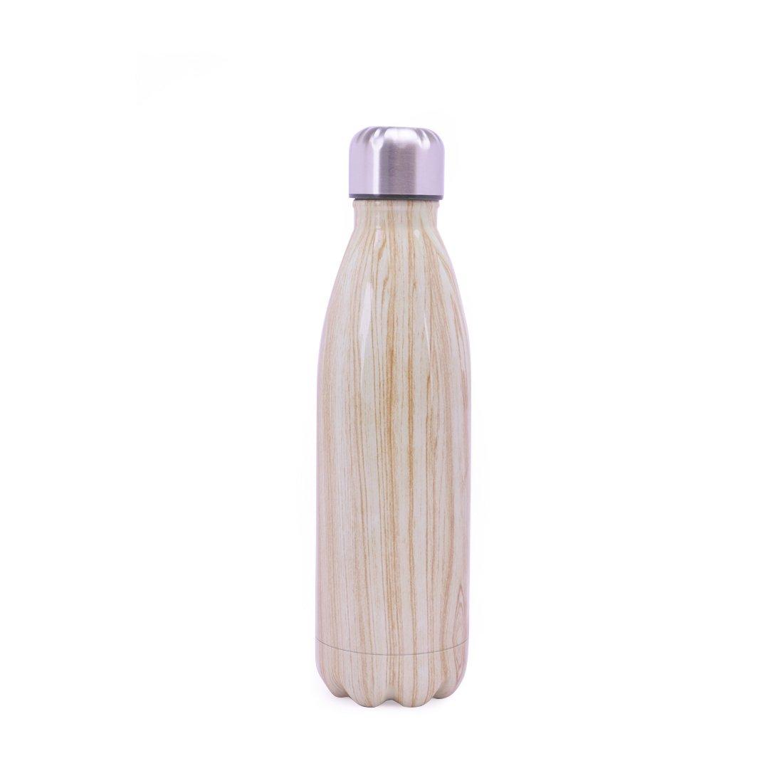 Stainless Steel Sport Insulated Water Bottle Wood Grain Unicorn Letter Bowling Shaped Drinkware Coke Bottle 500ML,17oz(Wood Grain)