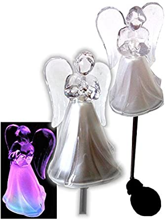 Solar Powered Angel w/Frosted Skirt Garden Stake Landscape Color ...