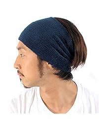 Casualbox mens Made in Japan Moisture Wicking Elastic Headband Sweat Sports Navy