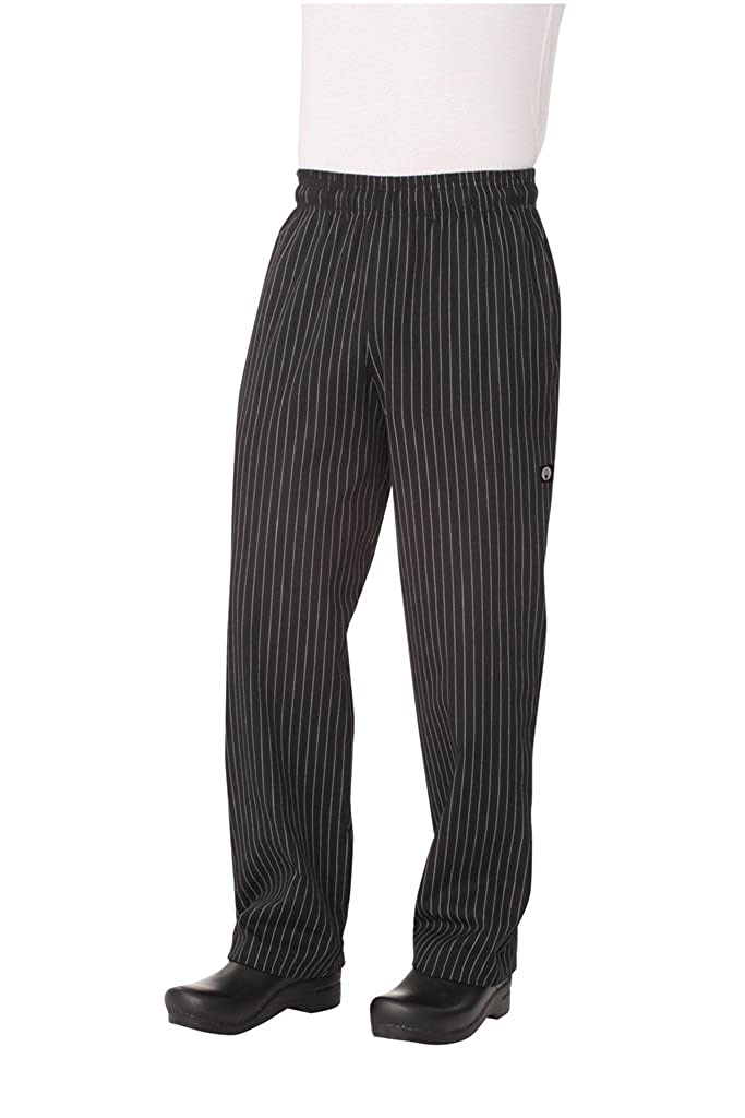 Chef Works Yarn Dyed Designer Baggy Pant, Black and White Chalkstrip GSBP-P