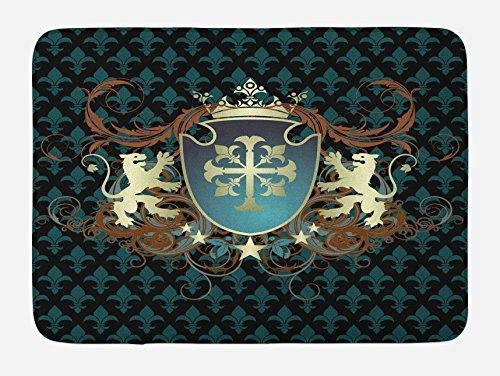 Ambesonne Medieval Bath Mat, Heraldic Design of a Middle Ages Coat of Arms Cross Crown Lions Swirls, Plush Bathroom Decor Mat with Non Slip Backing, 29.5 W X 17.5 L Inches, Teal Black Cinnamon