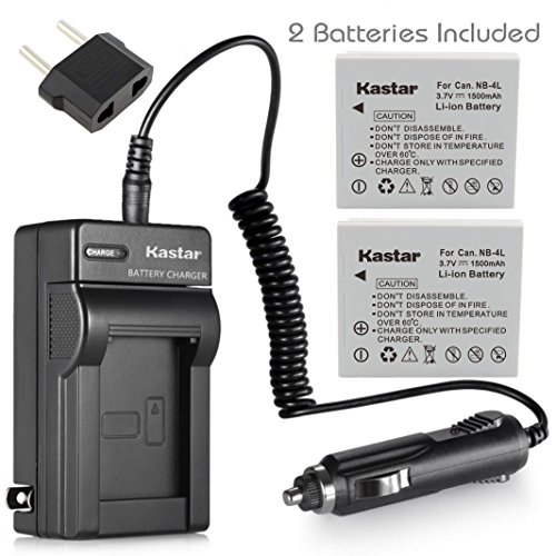 Kastar Charger with Car Plug and 2 Battery NB-4L NB4L for Canon CB-2LV CB-2LVE IXUS 30 40 50 55 60 65 75 Cameras ()