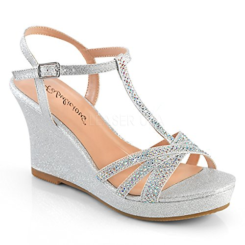 3 Inch Heel, 1/4 Inch Platform Ankle Strap Wedge Sandal (Silver Shimmering Fabric;10)