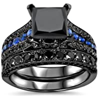 phitak shop 14kt Balck Gold Filled Princess Cut Black Sapphire Fashion Women Ring Size 6-10 (7)