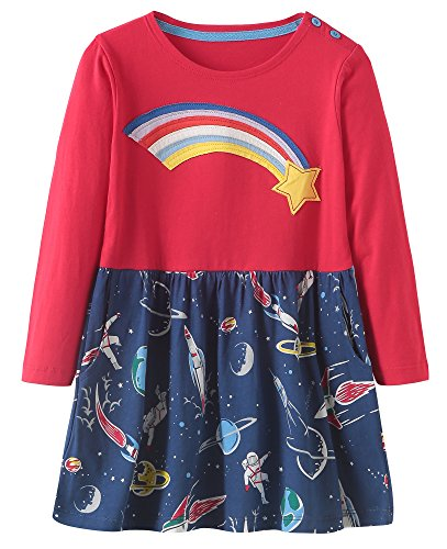Fiream Girls Cotton Longsleeve Casual Dresses Print Cartoon by(157Purple,6T/6-7YRS) -