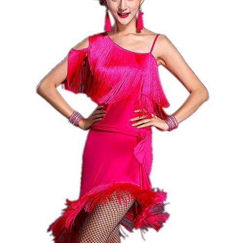 [Tassel Ballroom Latin Tango Rumba Cha Cha Samba Jive Salsa Dance Costumes Pink] (Hand Jive Costumes)