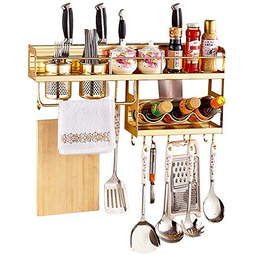 (YANGMAN Wall Pot Rack Single Layer Half Aluminum Alloy Microwave Oven Rack Stand Kitchen Shelf Holder Wall Hanging 12 Hooks (60X11x27cm,Titanium Gold Color))