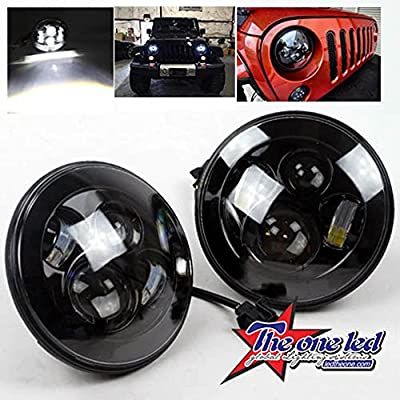 TheOne Pair New Black Daymaker Style 45W 7inch Hi/Low LED Projection Headlight Kit for Jeep 1997-2016 Wrangler JK Sahara Rubicon TJ Harley Davidson Motorcycle