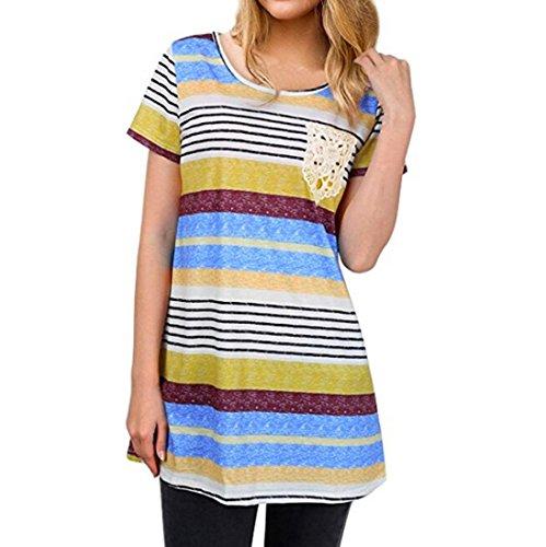 O Stripes Lace Hauts Cou Tops Shirt Blouses Pocket Femmes Koly Bleu Chemise Femme fnq0IIX