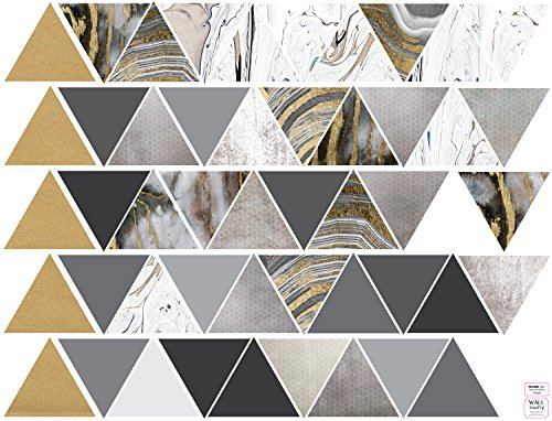 Modern Art Wall Decals, Gold, Gray, Marble, Triangles, Geometric Decals, Repositionable, Fabric Wall Decals Plus 6 Bonus Metallic Gold Triangle Vinyl Decals by Wall Dressed Up (Image #2)