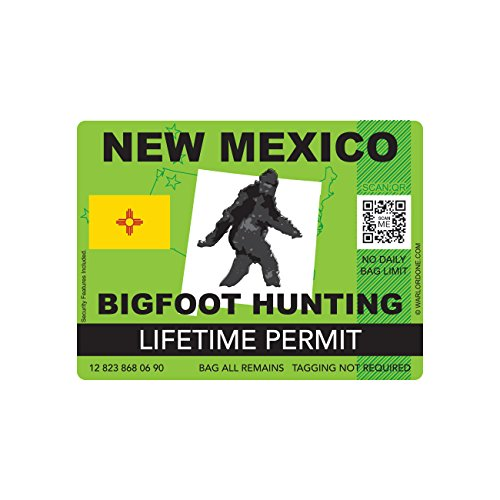 New Mexico Bigfoot Hunting Permit Sticker Die Cut Decal Sasquatch Lifetime FA Vinyl