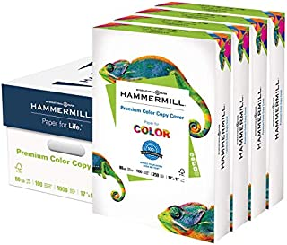 product image for Hammermill Cardstock, 80 lb, 216 GSM, Premium Color Copy, 17 x 11-4 Pack (1000 Sheets) - 100 Bright, Made In The USA Card Stock