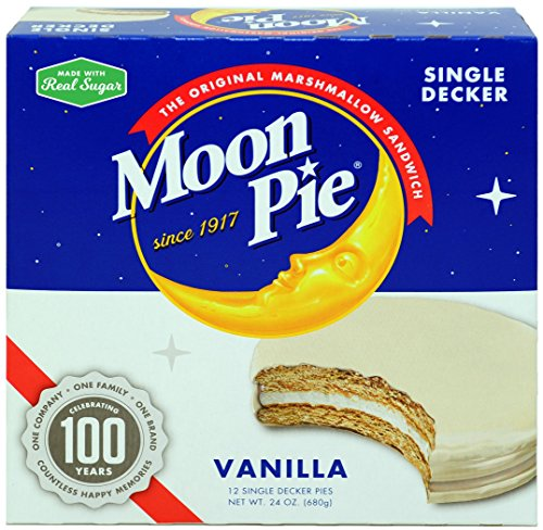 MoonPie Single Decker, Vanilla, 2oz, 12 Count (Pack of 8, 96 Count Total) (Vanilla Pie)