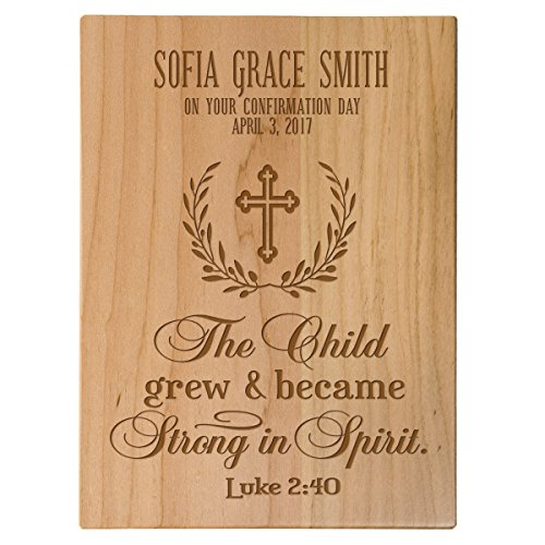 (LifeSong Milestones Personalized Baptism 1st Holy Communion Christening Gifts Custom Wall Plaque Baby dedication Decoration May The Child Grew and Became Strong in Spirit Luke 2:40 (Maple))