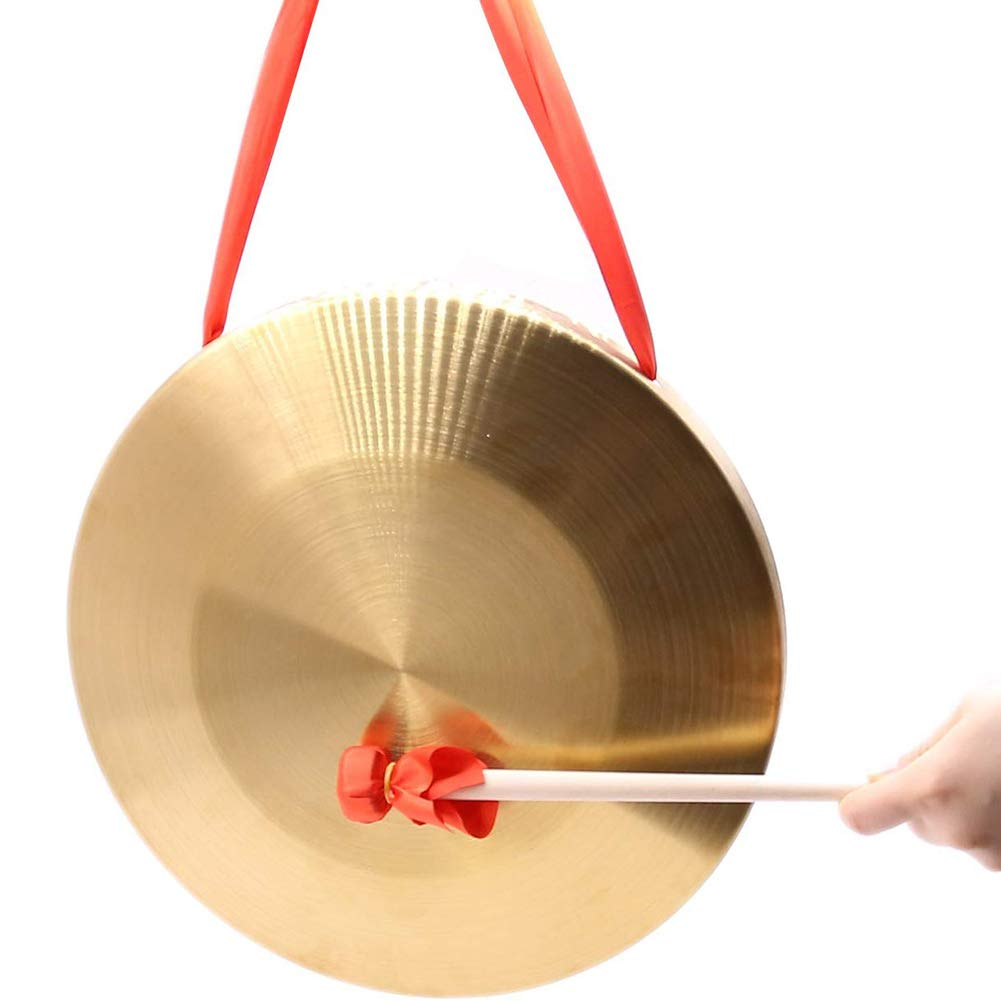Frideko 12.6 inch (32cm) Bronze Chau Gongs, Chinese Copper Feng Gong with wooden Beater